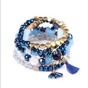 Blue tassel stackable stretch bracelet